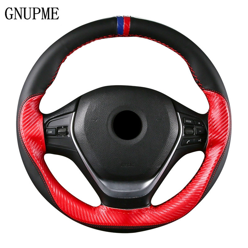 Steering-Wheel-Cover Braid-Stitch Anti-Slip with Needle--Thread On-Wrap Hand-Sewing 15-/38cm-Fiber title=