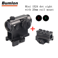 Mini 1X24 Rifle Scope Sight Illuminated Sniper Red Green Dot Sight With QD Scope Riser Rail Mount 3 Slots 20MM Picatinny RL5 39