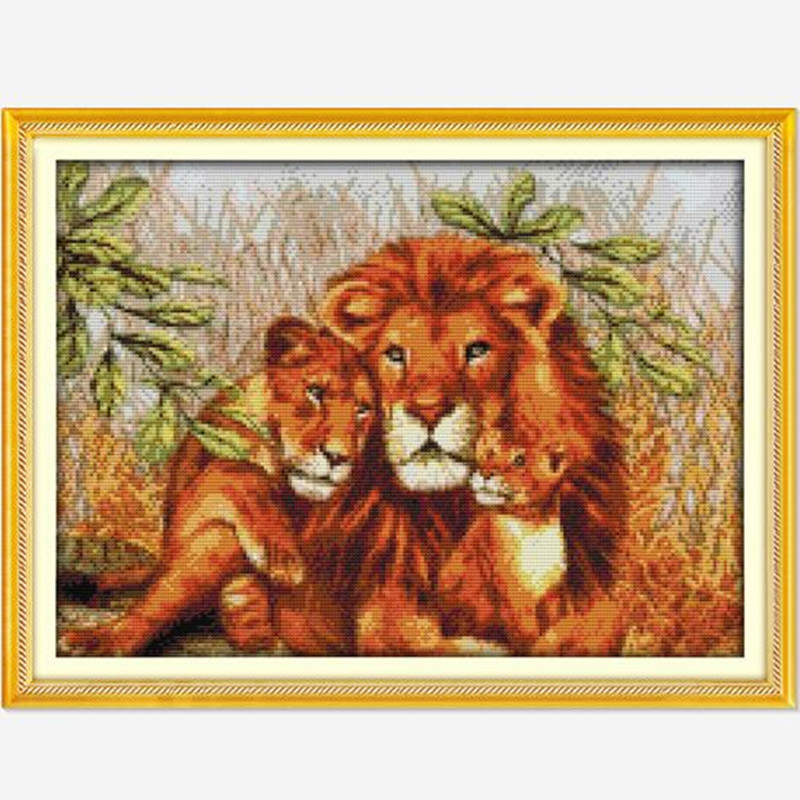 DIY Needlework Lion Family! 11CT 14CT DMC Counted Cross Stitch Kits For Embroidery Knitting Needles Handmade Patchwork Crafts