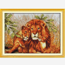 DIY Needlework Lion Family! 11CT 14CT DMC Counted Cross Stitch