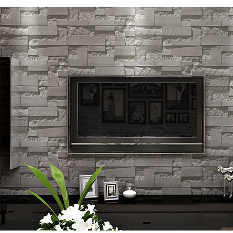 Compare prices on grey brick wallpaper online shopping for 3d effect wallpaper for walls