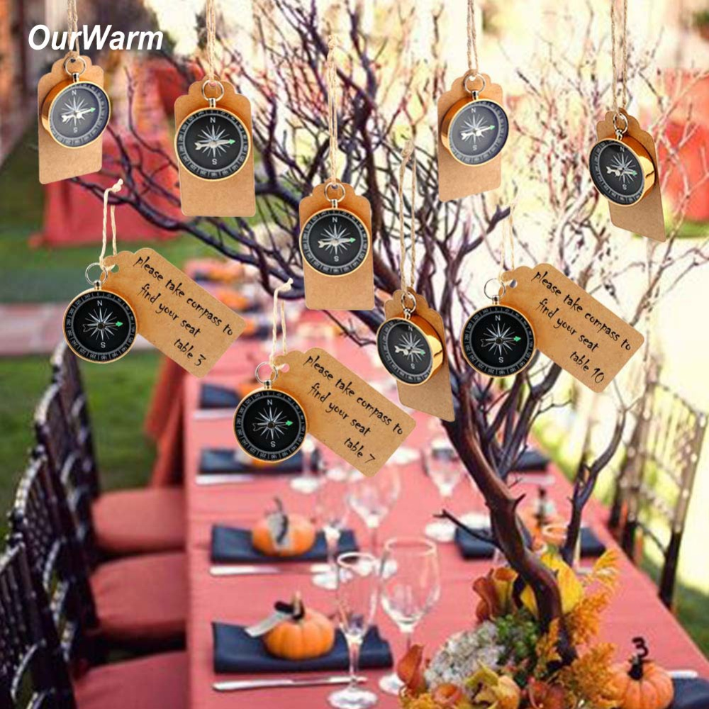 OurWarm Wedding Souvenirs for Guests Travel Themed Party Favor Compass + Kraft Paper DIY Decoration Kids Birthday Gift