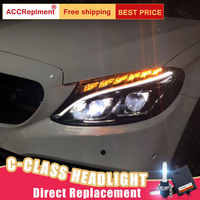 Faros LED de 2 piezas para Benz clase C W205 2015-2018 led luces de coche Ojos de Ángel todo LED KIT luces antiniebla LED Luz de circulación diurna