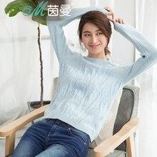 Инман Для женщин зима новый простой жаккард с длинными рукавами пуловер свитер универсальные
