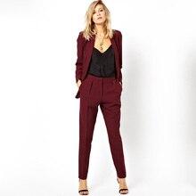 New Blazer OL Work to Wear Formal Jacket Pants Suit Women Business Burgundy Offi