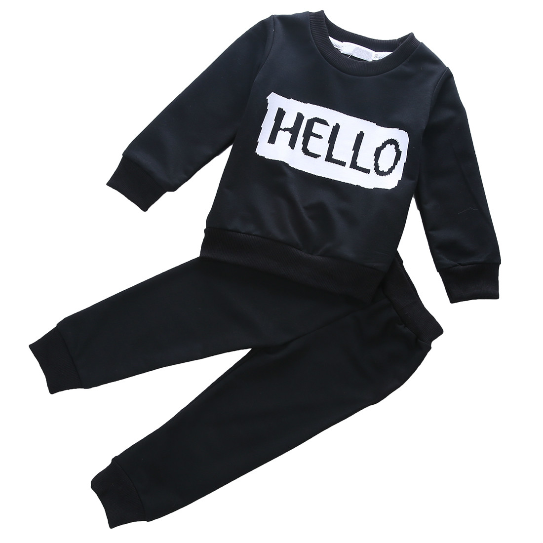 Winter Kid Clothes Sets 2Pcs Baby Toddler Kids Girls Boys Long Sleeve Letter T-shirt Tops Pants Casual Outfits Clothes Set 1-6Y t shirt tops cotton denim pants 2pcs clothes sets newborn toddler kid infant baby boy clothes outfit set au 2016 new boys
