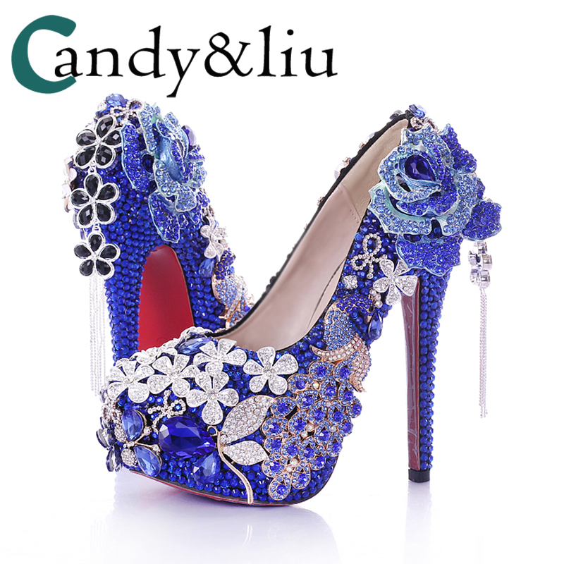 Blue Diamond Flower Bride shoes black tassel super waterproof Taiwan round wedding shoes high heeled party shoes ladies shoes
