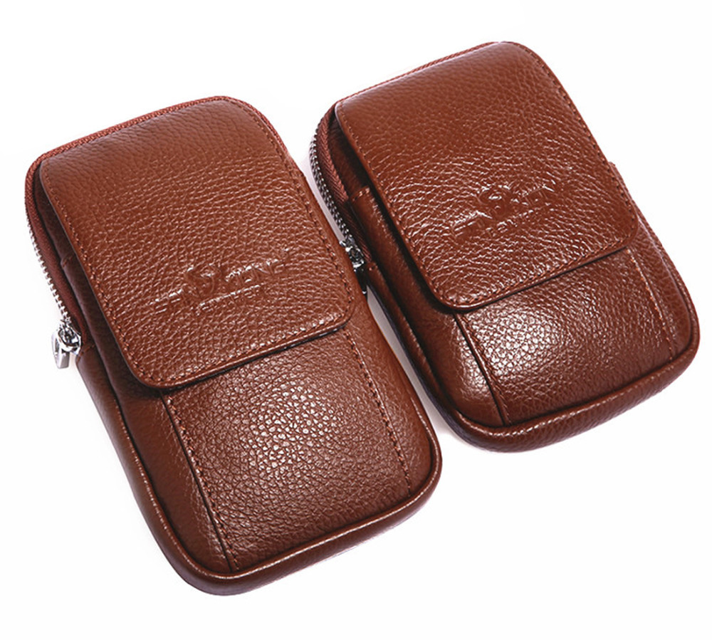 New Men Leather Cell/Mobile Phone Cover Case Skin Pouch Hip Belt Bum Purse Fanny Pack Waist Bag
