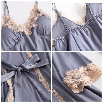 JULY'S SONG 5 Pieces Pajamas Set Sexy Lace Satin Silk Sleepwear Women Summer Spring Fashion Pajamas for Women Robe Sleep Lounge