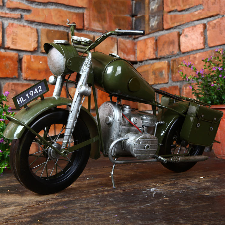 Do Old Vintage Iron Motorcycle Model Creative Gift Photo Props Motor Figurine Handmade Crafts Home Decoration Bar Cafe Decor