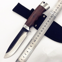 440c Steel Handmade Fixed Hunting Knife 58HRC Rosewood Handle Survival Camping Tactical folding knife