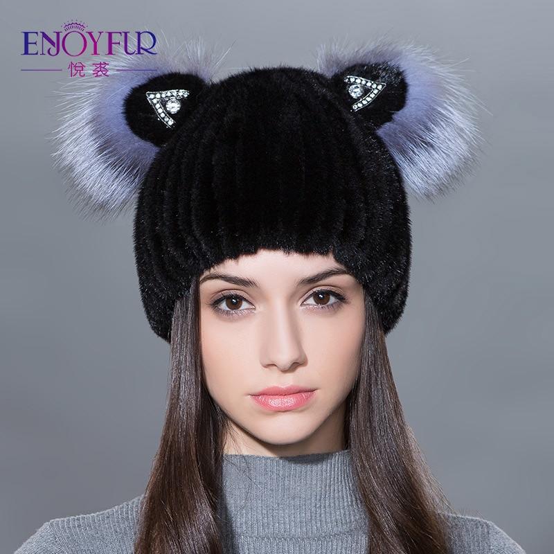 ENJOYFUR Winter women's fur hat genuine natural fox mink fur cap lovely cat ears style hats fashion female fur hats
