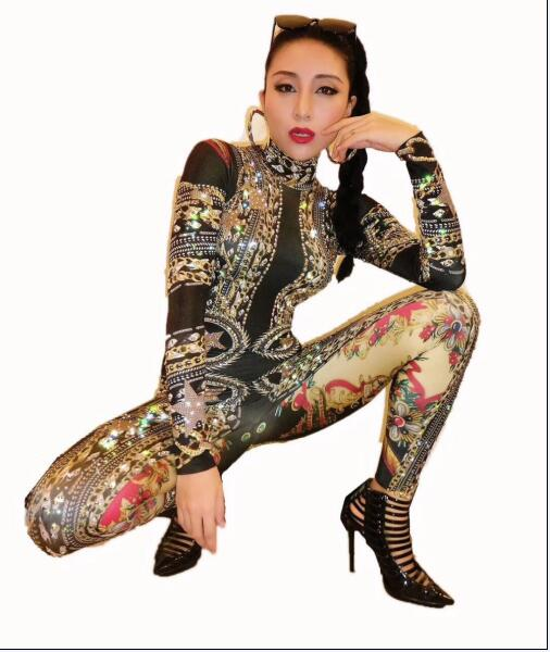 Fashion Gold Spandex Printed Stretch Rhinestones Jumpsuit Women s Sexy Bodysuit Costume Stage Outfit Singer Dancer