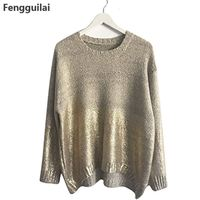 Fashion 2018 Womens Golden Gradient Jumpers Oversized Pullover Ladies Loose Sweater Plus Size Bat Sleeve Blouse Tops Knitwear