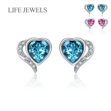 Authentic 100% 925 Sterling Silver Love Crystal  Stud Earrings l Women Luxury Valentines Day Jewelry Gift