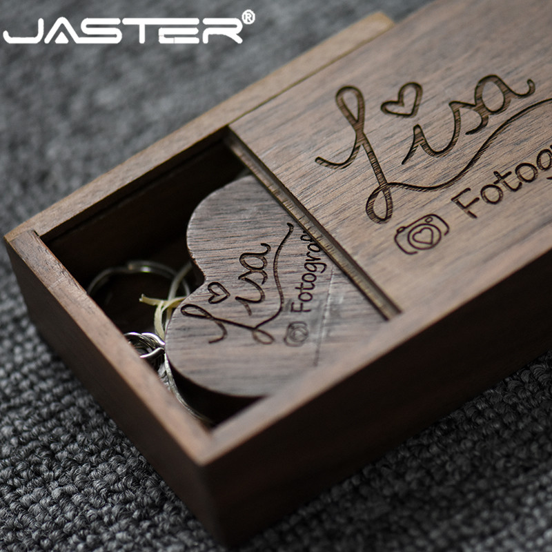 JASTER  (free Custom Logo ) Walnut Wooden Heart + Gift Box USB Flash Drive Creative Pendrive 8GB 16GB 32GB 64GB Memory Stick