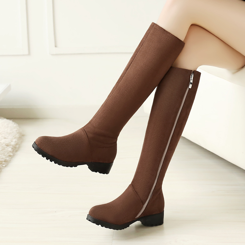 все цены на KEBEIORITY Women Knee High Boots Stretch Wide Calf Brown Black Boots Female Fashion Low Heels Winter Women Long Boots Plus Size