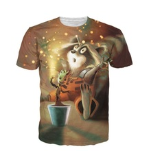 Newest Women Men 3D T Shirt Rocket and Groot T-Shirt Two Heroes From Guardians Of The Galaxy Printed Tee Top Summer Style R2438