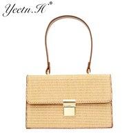Yeetn H New Arrival Flap Fashion Handbag Straw Cross Body Women Vacation Casual Tote For Women