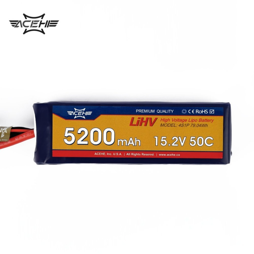 1pcs ACEHE Lipo Battery 15.2V 5200mAh 50C 4S1P 79.04Wh with XT60 Plug High Voltage