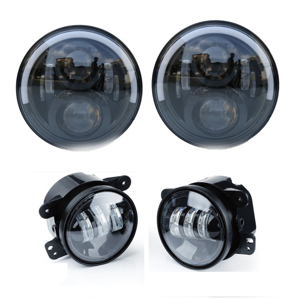 7 LED Headlights Round 7 inch Headlamps Angel Eye Halo Hi/Lo Beam with DRL and Amber Turn Signal + 4 Fog Light bumper for Jeep 6 inch led headlights eagle light hi lo beam halo ring angel eyes x drl for offroad jeep wrangler front bumper fog light