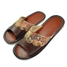 2016 Summer Leather Men Slippers Home Indoor Flat With Shoes European High-Grade Non-Slip Floor Sandals For Men