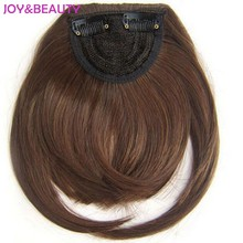 JOY&BEAUTY Hair Synthetic Hair Striaght bangs Clip on Clip in Front Neat Bang High Temperature Fiber 6inch Long