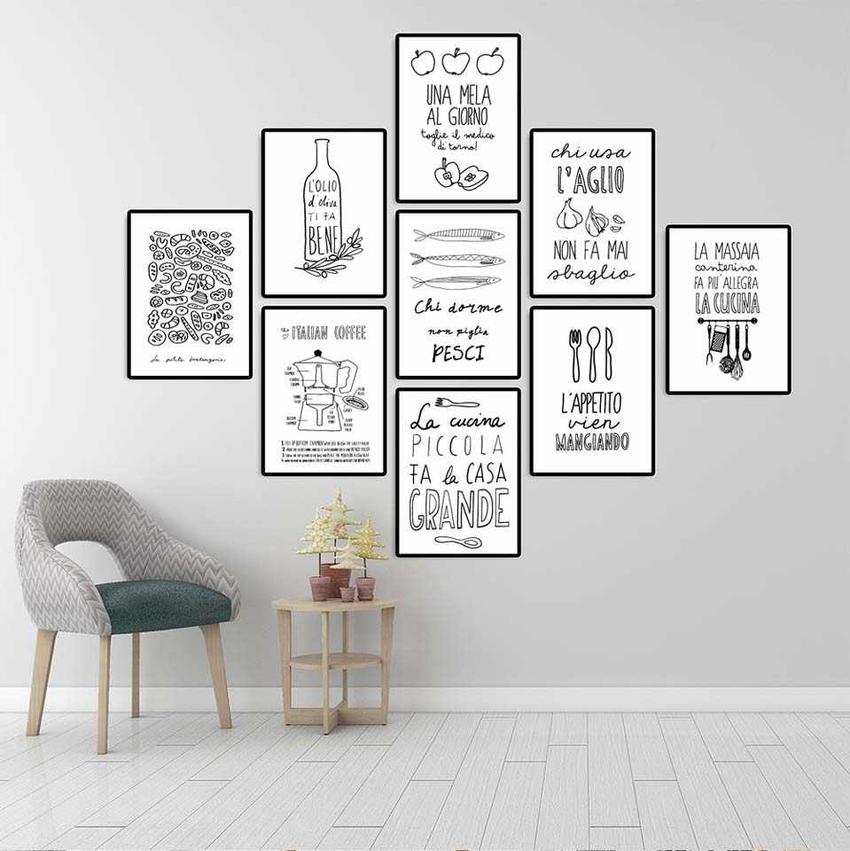Wall Art Canvas Posters Prints Nordic Love Quote Paintings Black White Wall Picture for Living Room  dining room Kitchens