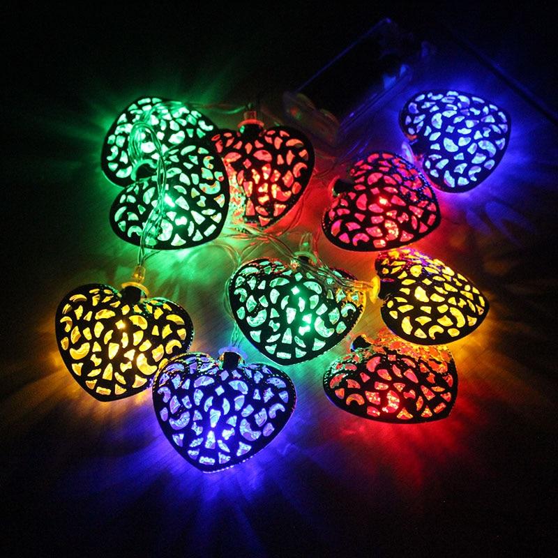 10pcs metal heart shape battery string lights Christmas decorative light string wedding fairy lights led Christmas lights