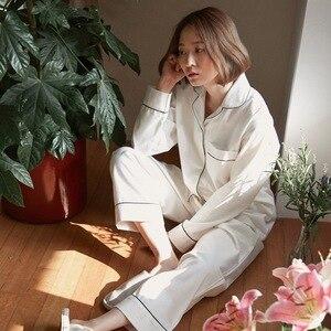 Image 2 - Lovers Pajamas Cotton Long Sleeves Autumn Women white solid Pajama Set Cotton Home Wear Casual Pyjamas For Lovers Couple pajamas