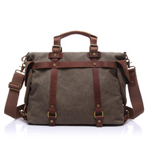 Vogue Vintage Business Leather Belt + Canvas Shoulder Messenger Crossbody Bag with Top Handle for School Student Office Staff