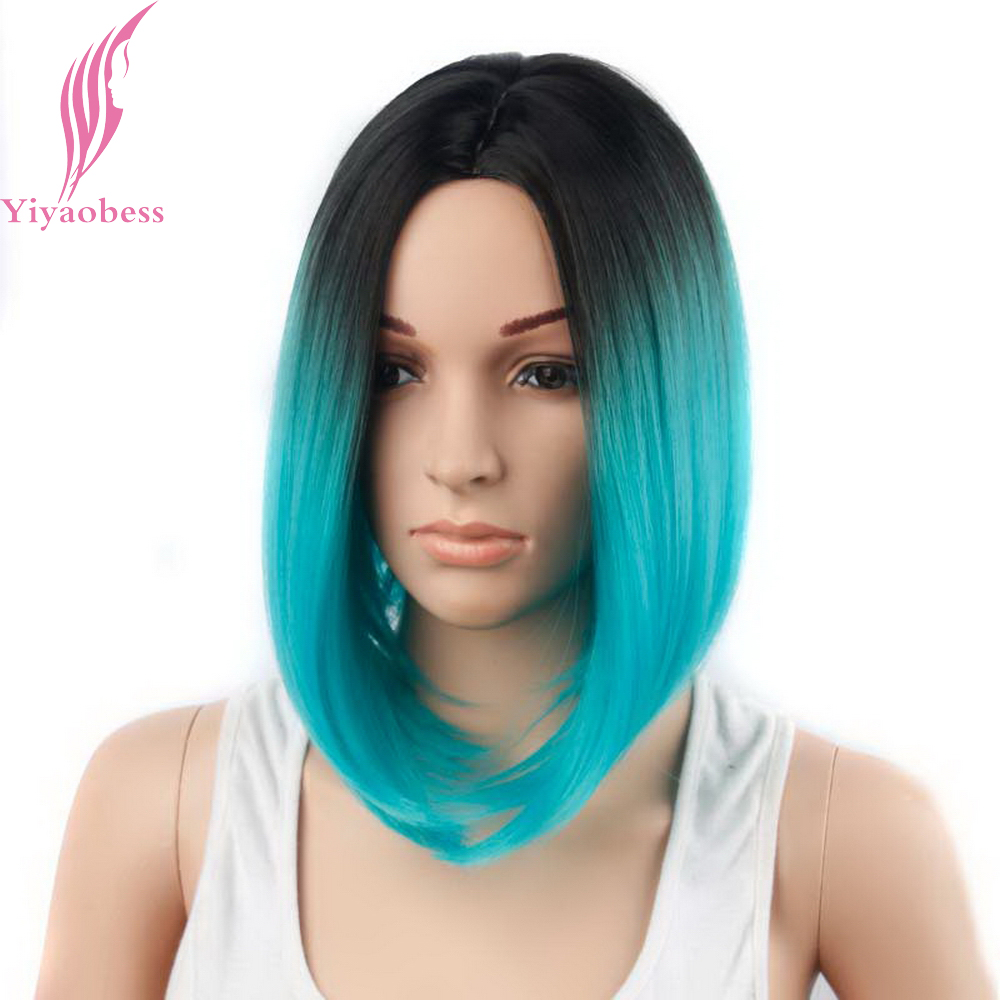 Yiyaobess Synthetic Short Bob Wigs For White Women Middle Part Straight Two Tone Black Grey Ombre Wig Natural Hair 3 Models