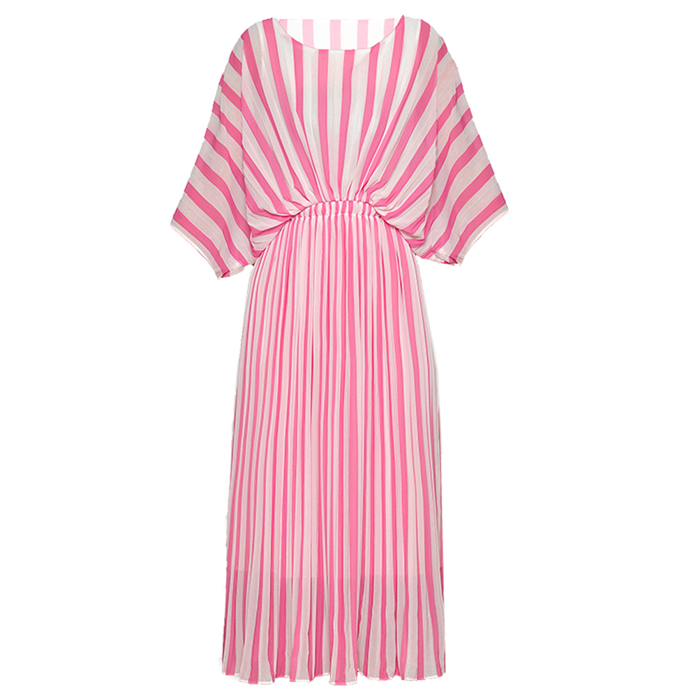 Red RoosaRosee Stripe Print Batwing Sleeve Elastic Waist Pleated Chiffon Dress Summer Women Midi Beach Holiday