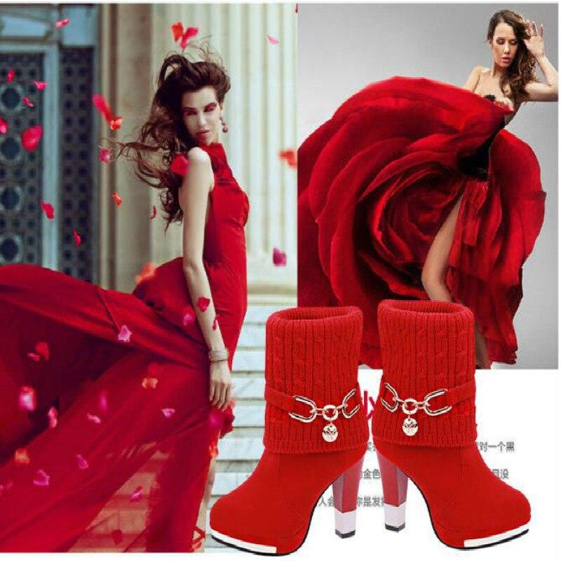 2016 Moda Kadın kış Pamuk çizmeler Kadın çizme Yüksek Topuklu ile (Siyah, Kırmızı)