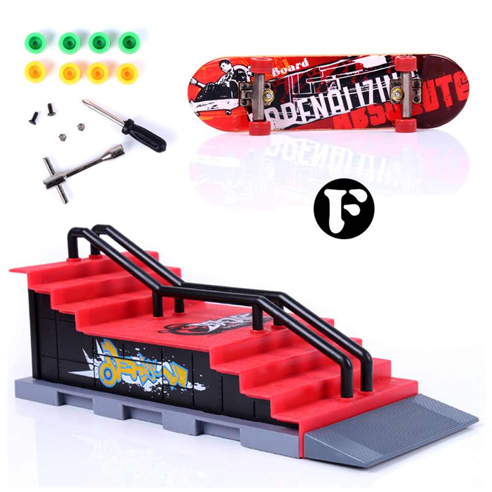 F Type Build Park Kicker to 7 Stair Rail Set Skate Park Ramp Parts for Desk Game Fingerboard Fun Finger Skateboard Track