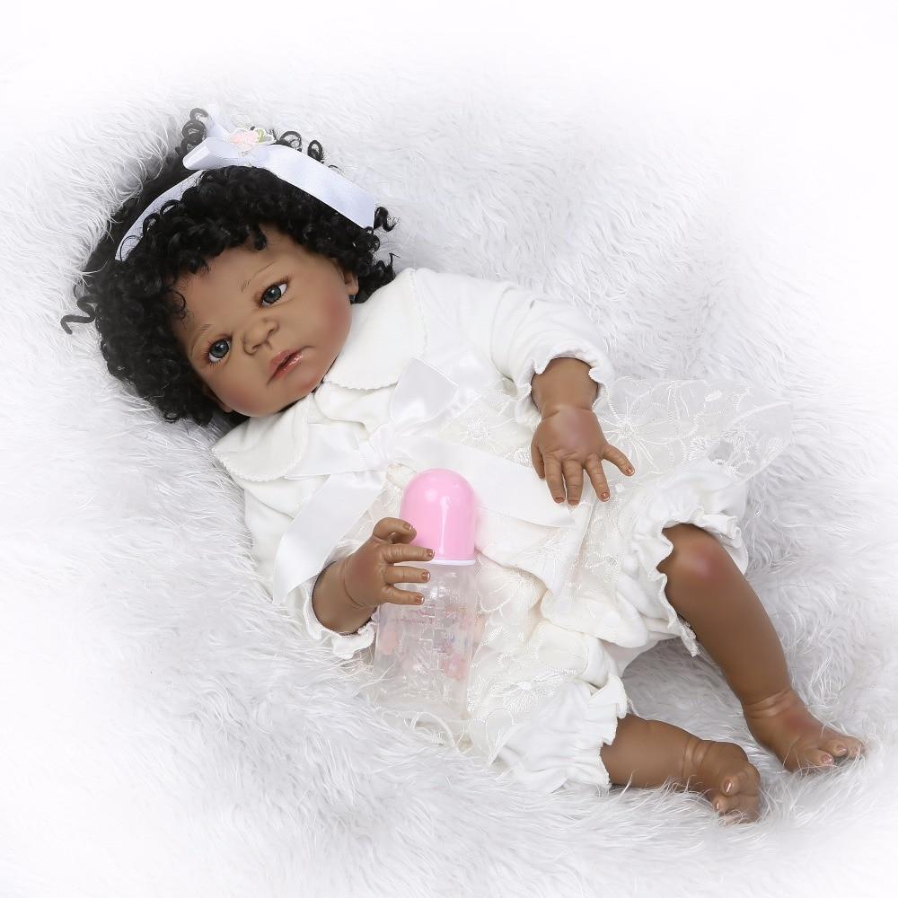 55 cm peau noire Silicone Reborn bébé poupée jouets pour filles Bonecas boucles nouveau-né princesse Bebe vivant bébés cadeau cadeau bain jouet