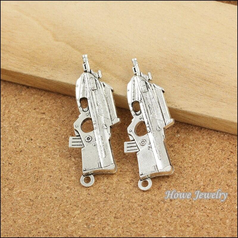 wholesale 4 pcs Antique Silver pistol alloy pendant fit DIY Charm fashion Bracelet Necklace jewelry accessories B081