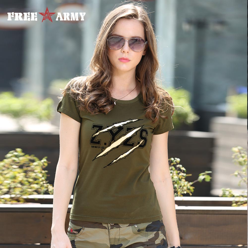 Summer Fashion Ladies Tshirts Tops Womens Army Green O Neck Cotton Brand T-Shirt Cotton Plus Size Women Clothing Gs-8557A