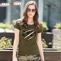 Summer Fashion Ladies Tshirts Tops Womens Army Green O Neck Cotton Brand T-Shirt Cotton Plus Size Women Clothing Gs-8557A