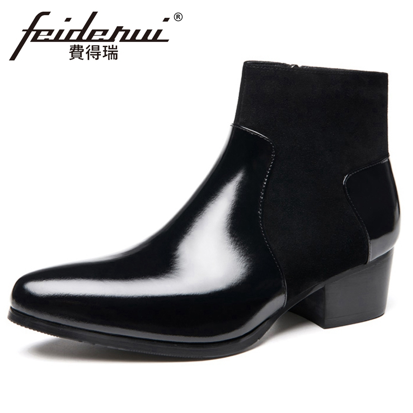 Formal Dress Patent Leather Men's Wedding Riding Ankle Boots Pointed Toe High Heels Handmade Man Cow Suede Martin Shoes HQS305