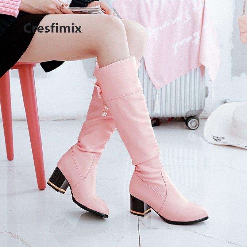 Cómodo Calidad Botas c Refrescan Zapatos Cuero C3071 Mujeres Pu Ternero De Negro Alta d Largas Cresfimix Moda Mujer e B Mediados 8U46wxW
