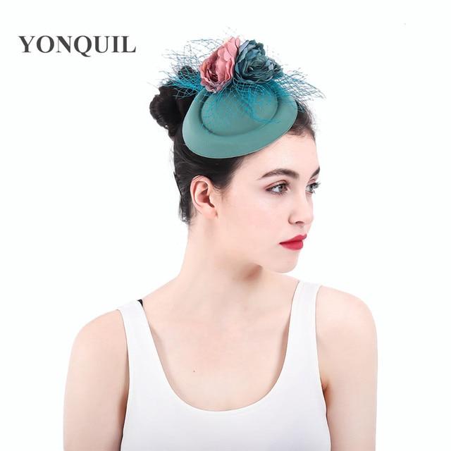 2018 New colors beautiful fabric flower wedding fascinator women wool felt  hats veils winter summer ladies fedora hats church a39f3ee3d93