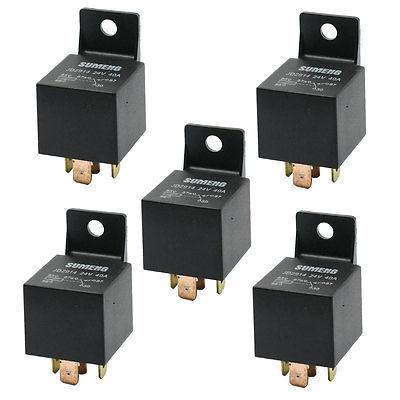 DC 24V 40A 1NO 1NC SPDT 5 Pins Male Plug Automotive Truck Car Relay 5 Pcs limit switches plug in side plunger std 1nc 1no spdt