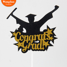 Gold Star Black Graduation 2019 Cupcake Topper Cake Decoration Happy Bachelor Ceremony Party Supplies
