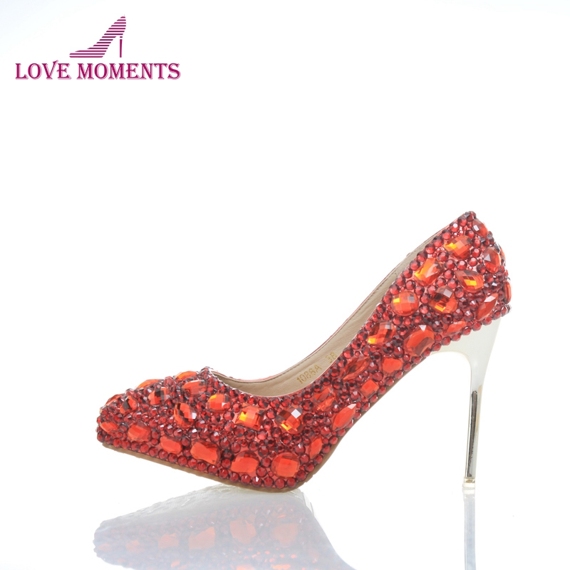 2018 Red Silver Rhinestone Wedding Shoes Pointed Toe 4 Inches High Heel Mother of the Bride Shoes Crystal Party Prom Pumps