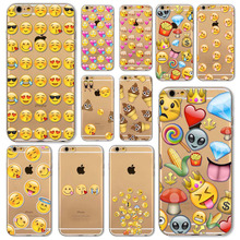 i6 Plus Cases Clear TPU Funny Emoji Cover For iphone 6plus 6Splus Cute Designs Various expressions Phone Back Bags