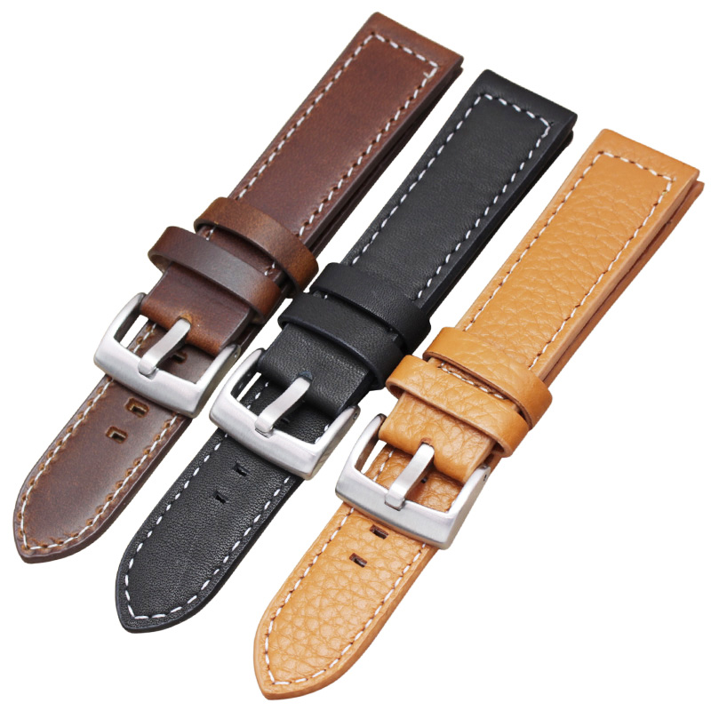 HENGRC 18mm 20mm 22mm Genuine Leather Watch Strap Belt Manual Men Thick Brown Black Watchbands Buckle Watches Accessories