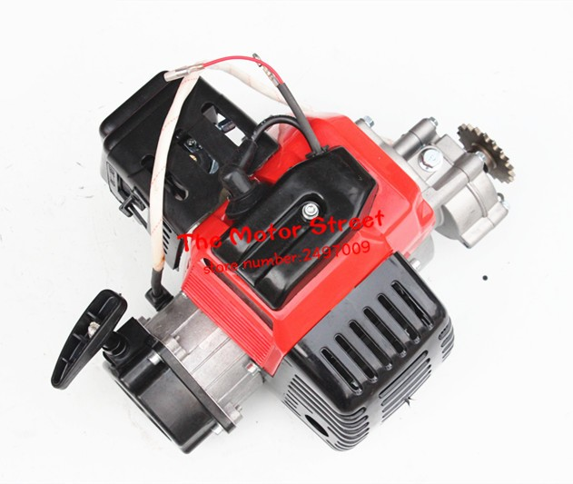 49cc complete engine 2 stroke super pocket bike electric start red in motorcycle starter from. Black Bedroom Furniture Sets. Home Design Ideas