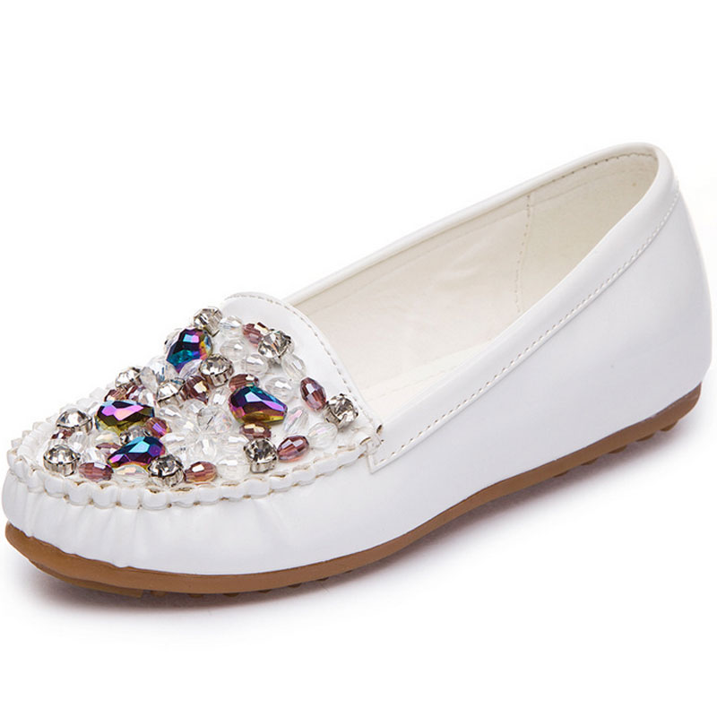 Comfortable 2018 Spring New Pearl Rhinestone Women Shoes Flat With Shallow Mouth Pointed Flat Shoes Single Beaded Shoes lin king fashion pearl pointed toe women flats shoes new arrive flock casual ladies shoes comfortable shallow mouth single shoes
