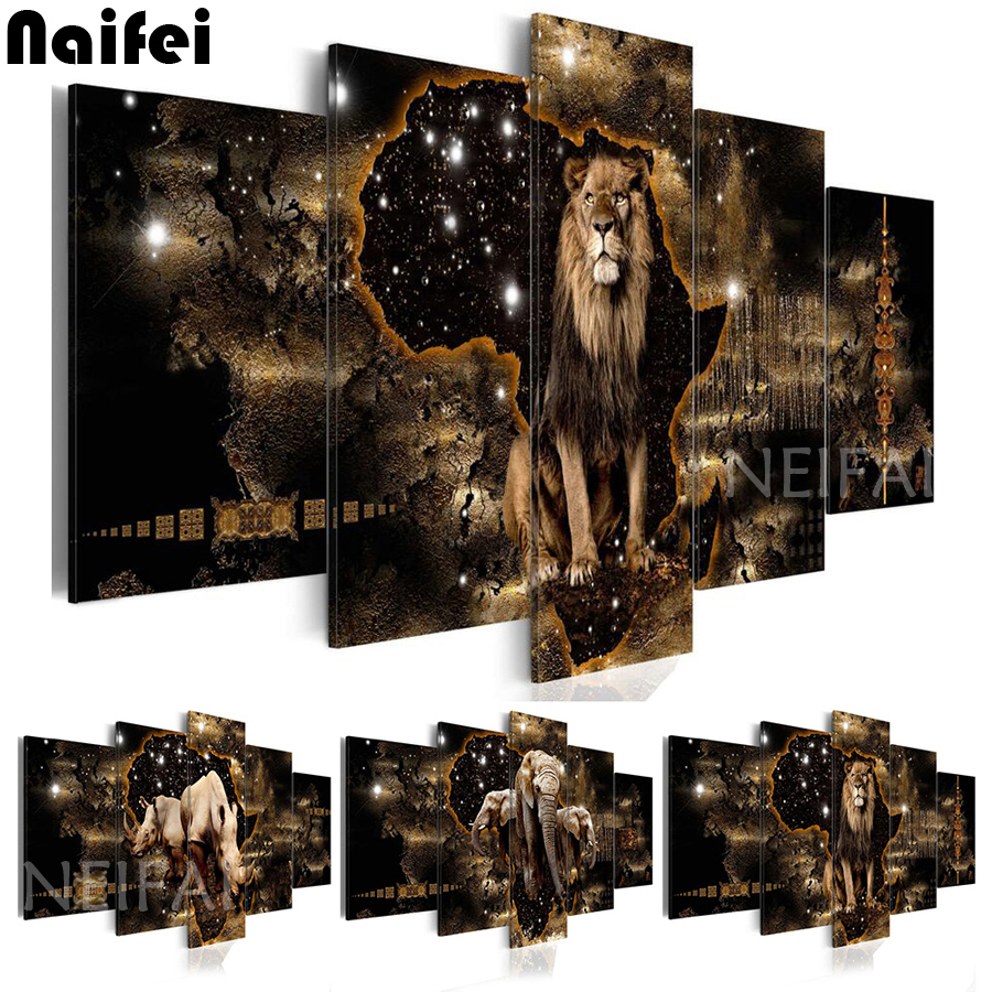5 piece Animal Lion Elephant DIY Diamond Embroidery Diamond Painting Diamond Mosaic full square rhinestones
